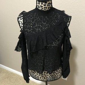 Zara black cold shoulder lace top size M